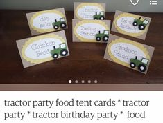 Tractor Party Foods, Tractor Birthday, Food Tent, Tent Cards, Birthday Parties, Place Card Holders, Anniversary Parties, Birthday Celebrations