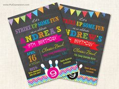 Bowling Birthday Invitations - Bright Color Chevron Stripes Invitations - Birthday Invites - Printable on Etsy, $15.00