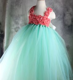 MINT + CORAL Flower girl dress Tutu dress Wedding dress Birthday dress Newborn 2T to 8T on Etsy, $58.00