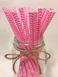 25 Pink Chevron paper straws // baby bridal shower by TamsCorner, $6.19