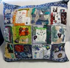 Funky crazy quilted pillow.