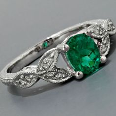 Antique Engagement Ring Art Nouveau Style Platinum Colombian Emerald Diamonds