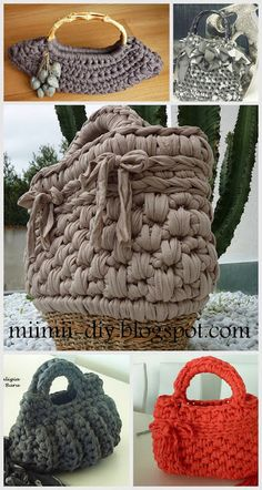 MiiMii - crafts for mom and daughter .: Magic szydełka- inspiration, stitches and patterns for each. How To Do Crochet, Love Crochet, Knit Crochet, Crochet T Shirts, Crochet Purses, Crochet Bags, T Shirt Yarn, Diy Toys, Merino Wool Blanket