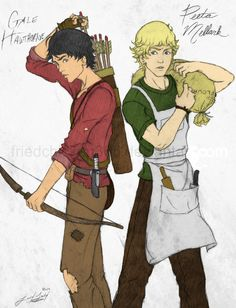 Gale and Peeta by love-button on DeviantArt Hunger Games Fandom, Hunger Games Humor, Hunger Games Catching Fire, Hunger Games Trilogy, Katniss Everdeen, Katniss And Peeta, Suzanne Collins, Team Gale, I Volunteer As Tribute