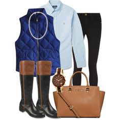 Winter preppy outfit by perfectlypreppy15 on Polyvore featuring polyvore, fashion, style, J.Crew, Frame Denim, Franco Sarto, MICHAEL Michael Kors, Mikimoto and Polo Ralph Lauren
