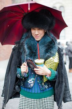 Caught by Harper's Bazaar photog en route to Jason Wu wearing a giant hat, Wyler scarf, Jil Sander sweater, Opening Ceremony bomber, Whistles jacket, and vintage skirt, Pierre Hardy clutch, and drinking my deliciously weird kale juice.