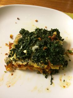 Lasagne- ground turkey, Whole foods in house ricotta cheese, chopped spinach