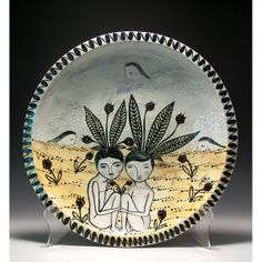 Sprouts  Ceramic Jenny Mendes Large Plate by jennymendes on Etsy
