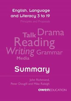 Book jacket of English, Language and Literacy 3 to 19: Summary