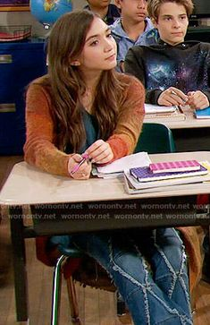 Riley's frayed pattern jeans and orange cardigan on Girl Meets World.  Outfit Details: https://wornontv.net/54700/ #GirlMeetsWorld