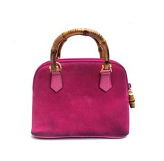 Gucci bamboo bag pink suede