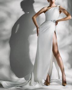 Ezra Couture | Tales of Arabia #ezracouture #fashion #moda #dress #vestido #gown One Shoulder Wedding Dress, Shoulder Dress, Designer Wedding Dresses, Wedding Designs, Gowns, Couture, Storyboard, Fashion, Vestidos