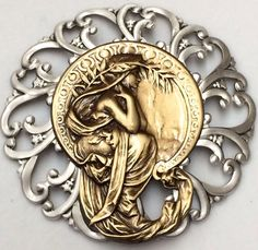 """LARGE 2 3/4"""" STERLING Overlay~Stamped FILAGREE Brass~""""ART NOUVEAU""""~Button"""