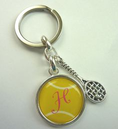 Personalized Custom tennis keychain with tennis racket charm - you choose colors