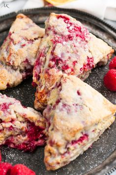 Lemon Raspberry Scones Recipe - Easy homemade scones made with fresh raspberries tempered by tart lemons, and topped with a sweet lemon glaze. Raspberry Scones Recipe Easy, Raspberry Desserts, Lemon Scones, Raspberry Ideas, Fresh Raspberry Recipes, Lavender Scones, Lemon Raspberry Muffins, Raspberry Mousse, Vegetarian Recipes