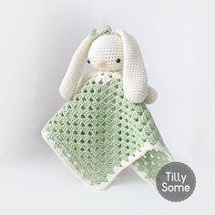 Lovely Bunny Lovey  Comforter  Baby Blanket  Blankey  by TillySome
