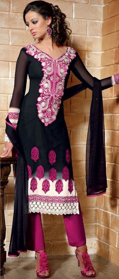 Black and Off White Faux Georgette  Churidar Kameez @ $63.82