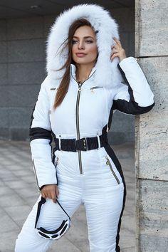 Women Ski jumpsuit white with black insert Ski overall bright Ski Winter suit Snowboarding suit Winter jacket Winter warm pants Winter suit Ski Jumpsuit, White Jumpsuit, Sport Outfits, Cute Outfits, Ski Outfits, Mode Adidas, Estilo Fashion, Sporty Fashion, Ski Fashion