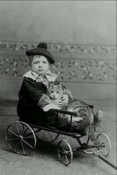 Child with cat, c. 1890 (Photo by John A. Wheeler)