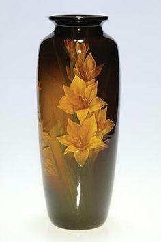 ~Rookwood~Artist: Kataro Shirayamadani~Circa 1901~Artfully Arranged Two Stalks Of Blooming Yellow Gladioli-Tall Standard Glaze Vase~