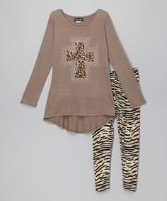 Look what I found on #zulily! Rated G Tan & Black Animal Tunic & Leggings by Rated G #zulilyfinds