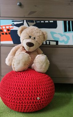 Round crochet stuffed pouf. My poufs are made of cotton rope 5 mm with core (high quality cotton made in EU).  The Pouf filling is silicone balls NOT polystyrene beads. Pouf is soft but it keeps its shape and does not deform as it does when filled with polystyrene. Filling is therefore