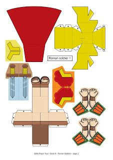 My Little House: Bible Paper Toys - Book 9 - Roman Soldiers Bible Stories For Kids, Bible Lessons For Kids, Paper Toys, Paper Crafts, Kids Art Party, Children's Church Crafts, Roman Soldiers, Paper Animals, Bible Activities