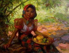Fernando Amorsolo Fruit Gatherer, oil on board, private collection. Amorsolo is one of the most important artists in the history of painting in the Philippines. He was a portraitist and painter of rural Philippine landscapes. He is popularly. Arte Filipino, Filipino Culture, Artist Painting, Figure Painting, Munier, Most Famous Artists, Famous Artists Paintings, Modern Paintings, Classic Paintings