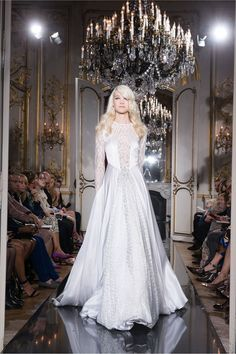 Azzaro | Fall 2014 Couture | 30 White embellished long sleeve maxi dress (front)