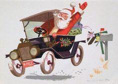 #543 60s Disney Ralph Hulett Santa-California Artists Vintage-Christmas Card