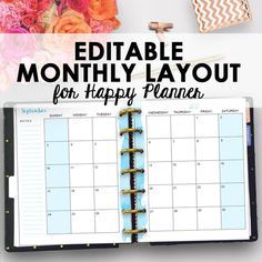Editable Monthly Happy Planner Pages Use these editable planner inserts for your Mambi Happy Planner or your Arc Planner! These editable inserts are designed as a monthly calendar addition for your happy planner. Included are 2 monthly planner pages - the first page is the start of the weeks and is set for right side hole punching, and the second page the second half of the weeks and is set for left side hole punching.