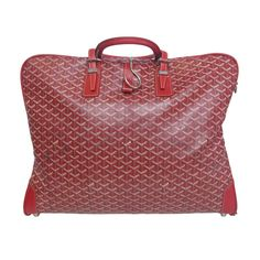 1990's GOYARD Red Vinyl Leather Garment Bag