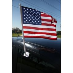 "Kritzer Marketing from New York NY USA Give your clients a way to show off the love of their country with this 12"" x 16"" USA car flag that is sold in dozens! They're made of 1-ply wrap knitted polyester and are printed with unforgettably vivid colors via dye sublimation. It features a 17"" flexible pole that sits on top of the car's auto window, allowing recipients to drive around and let the fabric flap high in the wind."