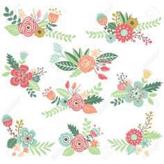 42212047-Vintage-Hand-Drawn-Floral-Set-Stock-Vector.jpg (1300×1300)