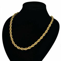 ed4b9e01509 24 Inches 18k Gold Plated Twist Rope Chain Necklace 5mm Thick Men's Jewelry  #FlyStarJewelry #