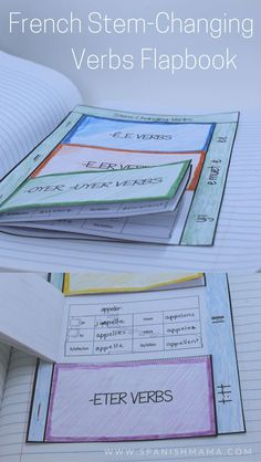 Verbs flapbook for interactive notebooks to record stem-changing verbs in French. Keep verb charts succinct and organized with these easy-to-use inserts.