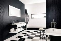 The Combination Of Black And White Bathroom Ideas: Traditional Black And White Bathroom Interior Design Ideas Black And White Bathroom Floor, White Bathroom Interior, Modern Bathrooms Interior, Black White Bathrooms, Black And White Interior, Interior Design Color Schemes, White Interior Design, Restaurant Interior Design, Interior Decorating