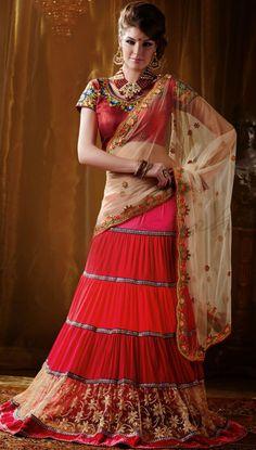 USD 79 Off White Net Embroidery Wedding Lehenga Saree 42815
