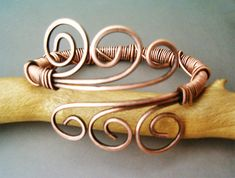 Bracelet Wire Wrapped Hammered Copper Jewelry by GearsFactory
