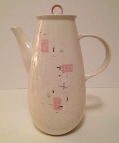 1950's Vernonware Tickled Pink Coffee Pot w Lid