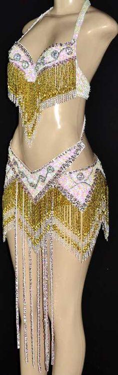Vegas Samba Stage Carnival Beaded Showgirl Dance Costume