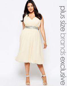 Image 1 of Little Mistress Plus Embellished Midi Skater Dress With Plunge Front