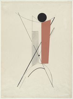 """El Lissitzky. Untitled from Proun. 1919-23. One lithograph with collage additions from a portfolio of six lithographs, two with collage additions. composition (irreg.): 18 13/16 x 9 5/8"""" (47.8 x 24.5 cm); sheet: 23 3/4 x 17 3/8"""" (60.3 x 44.1 cm). Kestner Gesellschaft (Ludwig Ey), Hannover. Robert Leunis & Chapman, Hannover. 50. Purchase. 247.1935.4. © 2017 Artists Rights Society (ARS), New York/VG Bild-Kunst, Bonn. Drawings and Prints"""