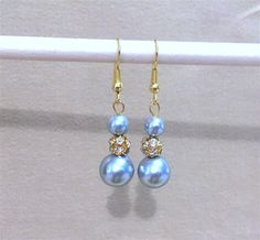 Graduated Silver Pearl & Gold Crystal Accented Dangle Earrings, Handmade Original Fashion Jewelry, Classic Simple Elegant Wedding Jewelry by Pizzelwaddels on Etsy