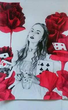 White Queen (Alice in Wonderland). ink & pencil