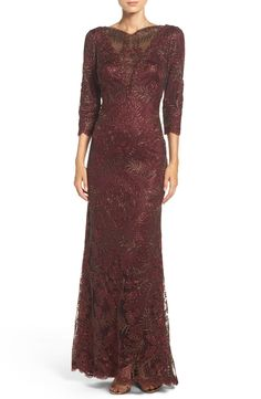 Free shipping and returns on Tadashi Shoji Embroidered Mesh Gown (Regular & Petite) at Nordstrom.com. A semi-sheer illusion sweetheart neckline plunges down the front of this fitted evening gown textured in shimmery embroidery.