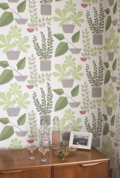 Missprint House Plants Olive Green Wallpaper at best price. Stunning designer wallpaper available online to order and buy today with quick delivery. Art Nouveau, Art Deco, Plant Wallpaper, New Wallpaper, Hallway Wallpaper, Bathroom Wallpaper, Olive Green Wallpaper, Retro Tapet, Terrazzo