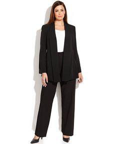 Calvin Klein Plus Size Soft Jacket, Cowl-Neck Top & Wide-Leg Dress Pants - Shop All Suits & Suit Separates - Plus Sizes - Macy's