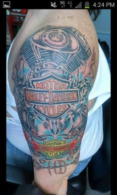 Tattoo Artist: Garry Hovis; Harley Davidson tattoo