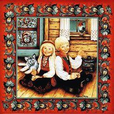 """Norwegian Rosemaling Trivet Tile """"Risengrynsgrot Children"""" 6"""" x 6"""""""